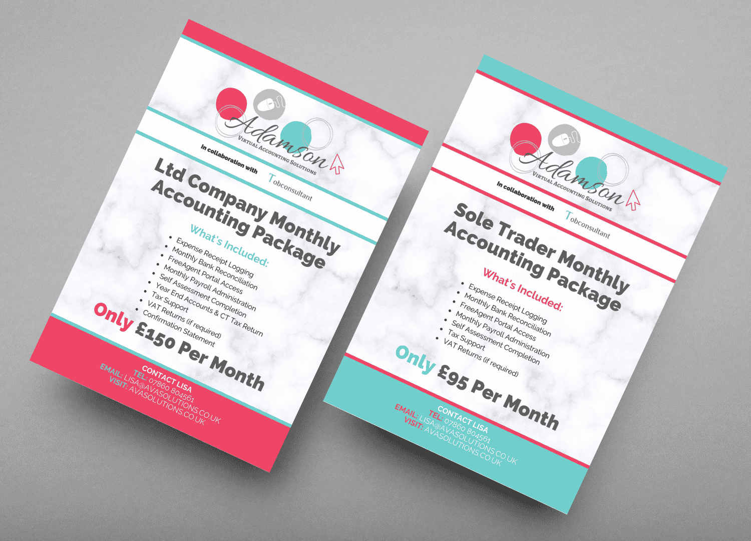 Images shows the front and back of AVA Solutions marketing flyers