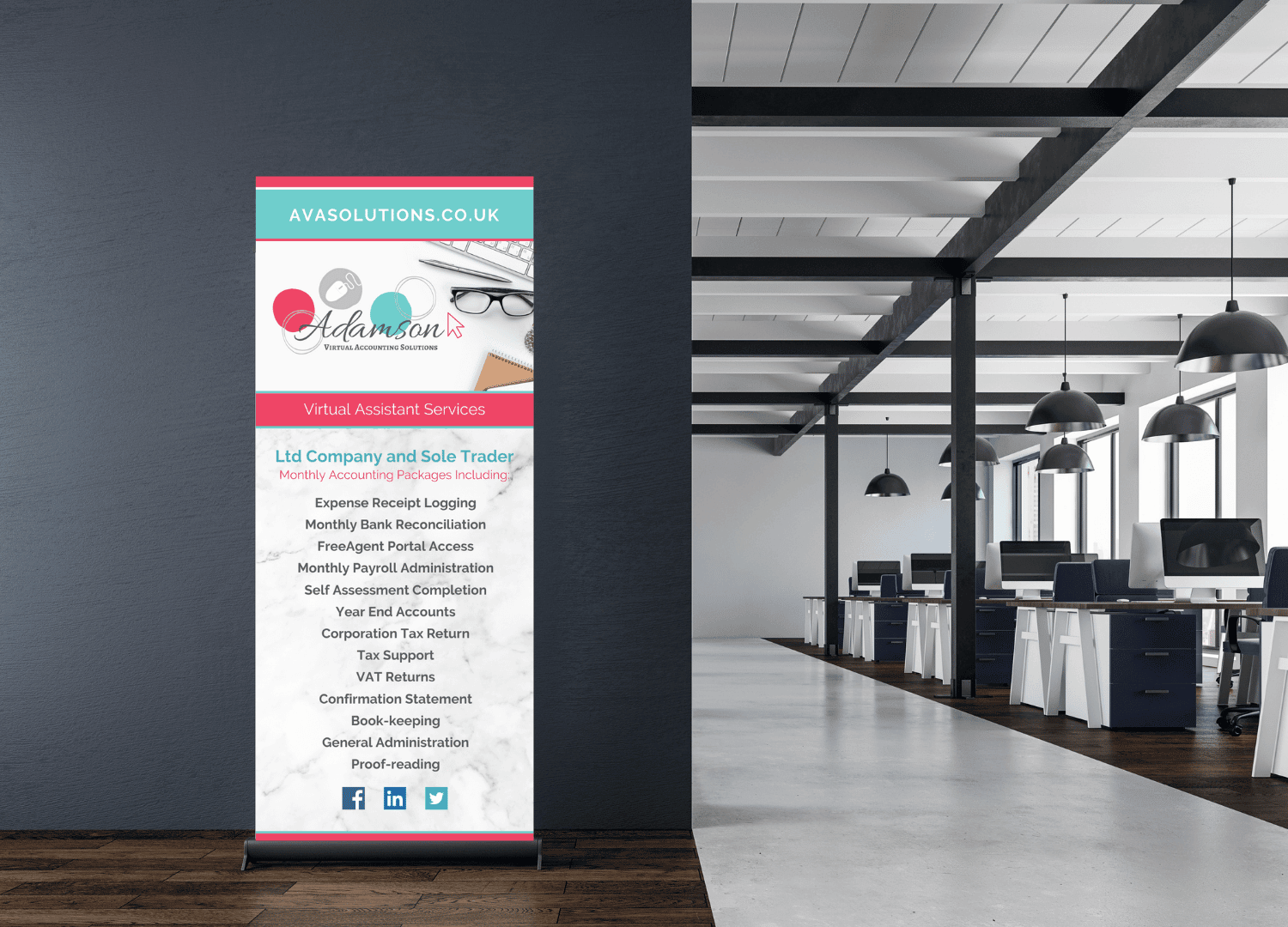 Images shows AVA Solutions roller banner in an office setting