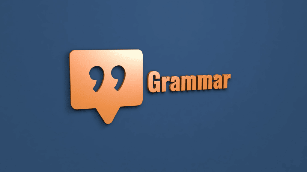 Image shows speech marks and the word grammar on a blue background