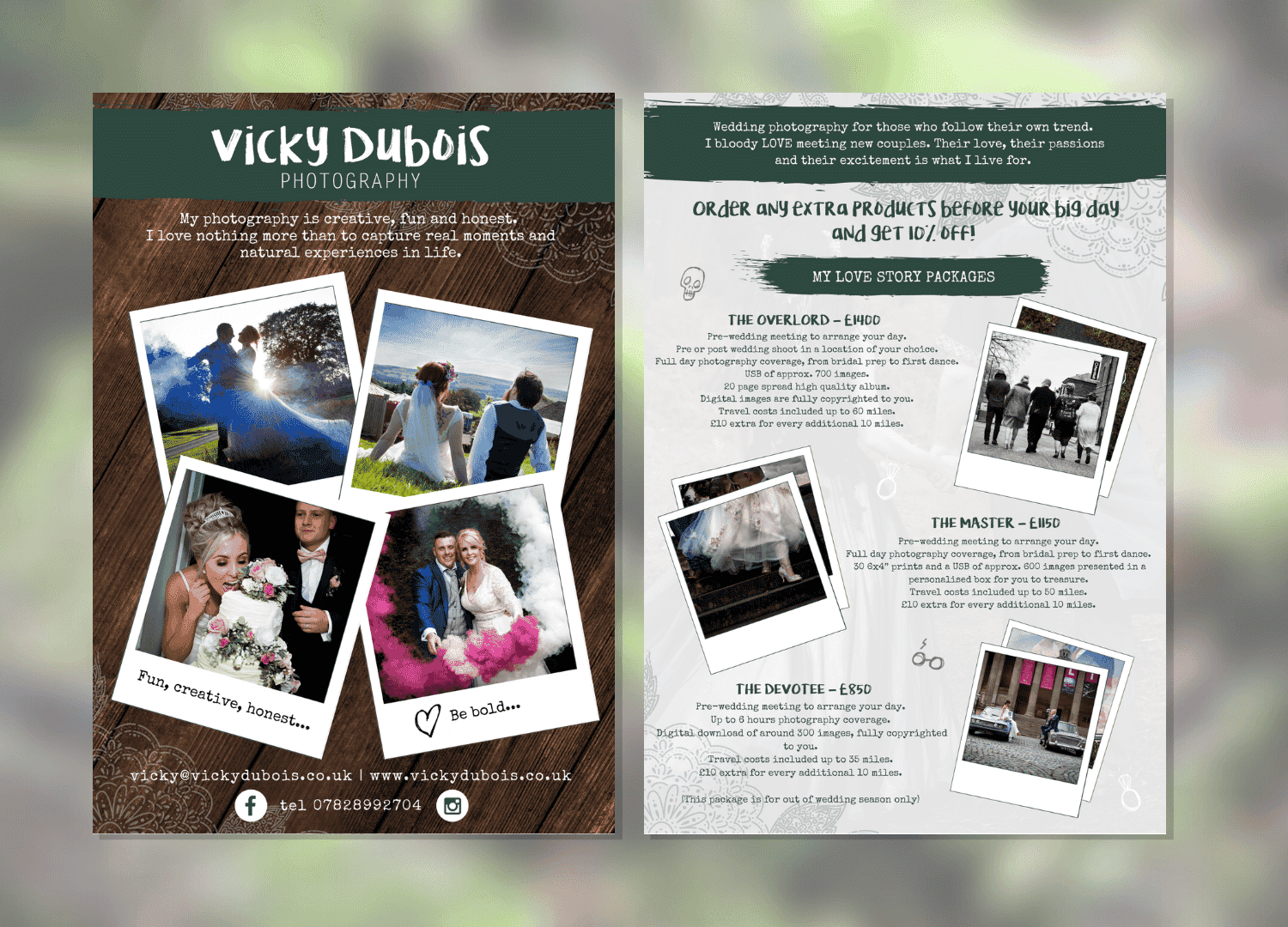 Image shows a flyer design for Vicky Dubois photography