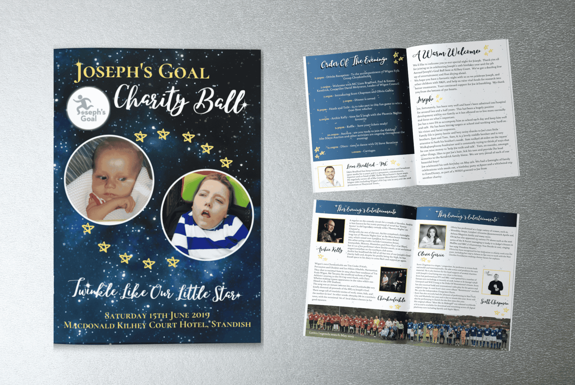 Image shows the event program for Joesph's Goal Ball 2019