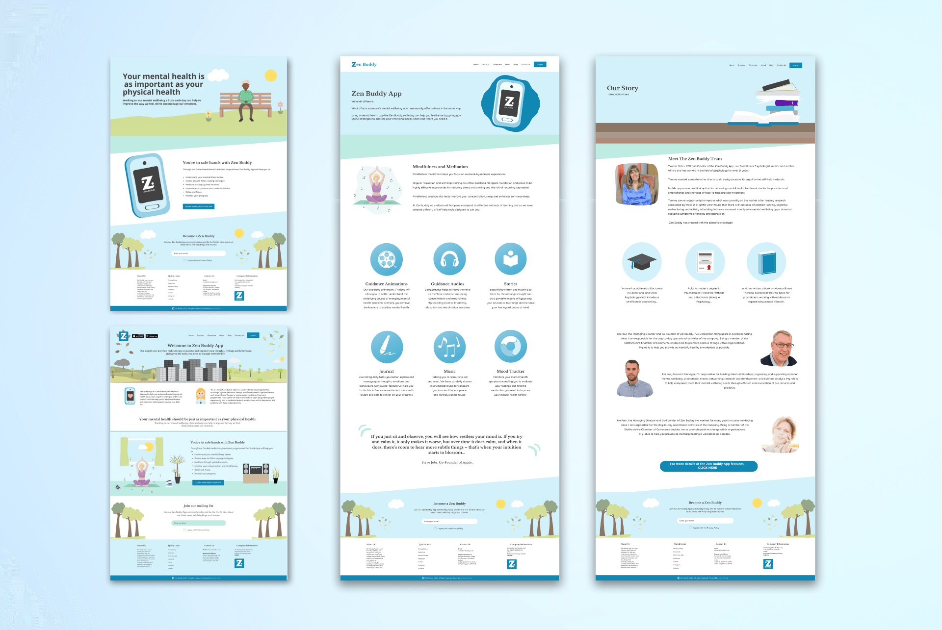 Images shows mockups of Zen Buddy's website designed by Launch North West