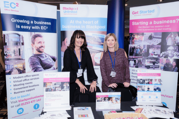 Lesley Crowe and colleague from Blackpool Council exhibiting at Blackpool Expo 2019