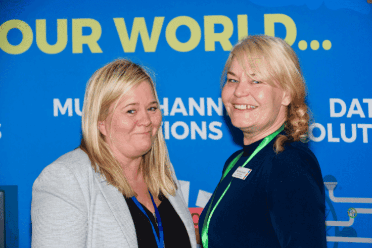 photo of business expo Wigan organiser Nichola Howard and Yvonne Ryan from ATTAIN Digital, digital sponsors of the event
