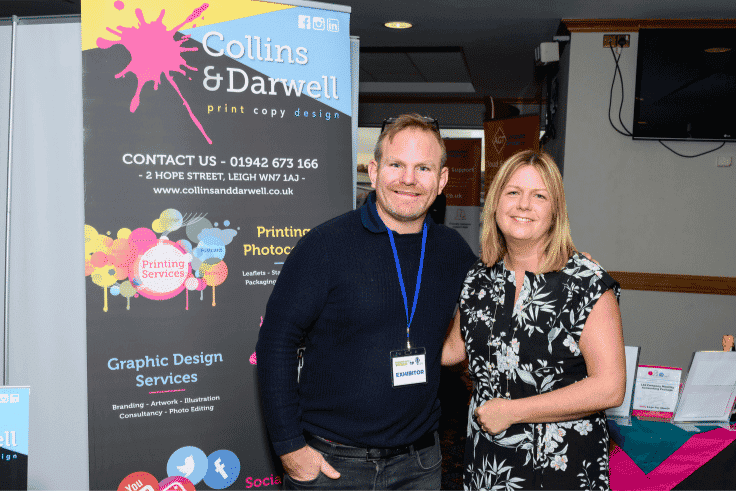 Photo of Nicola and Chris Westwell from Collins and Darwell exhibiting at Business Expo Wigan